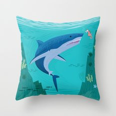 The Shark and The Sea Horse Throw Pillow