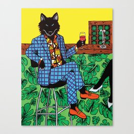Wolf at the Wine bar Canvas Print