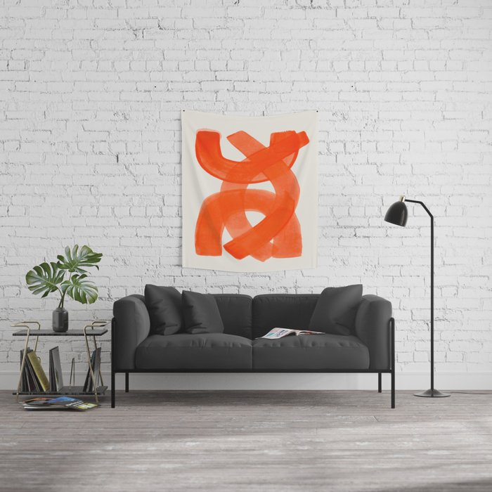 Mid Century Modern Abstract Painting Orange Watercolor Brush Strokes Wall Tapestry
