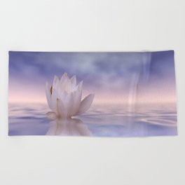the lonely water lily Beach Towel