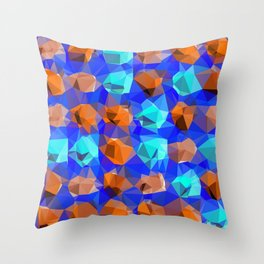 geometric polygon abstract pattern in blue and brown Throw Pillow
