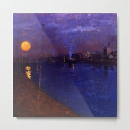 Orange Ripples of Moon on the River under Purples Skies, cityscape painting by George Henry Metal Print