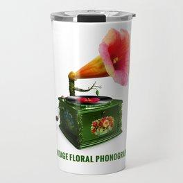 ORGANIC INVENTIONS SERIES: Vintage Floral Phonograph Travel Mug