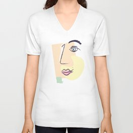 Women Face Unisex V-Neck