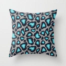 Snow Leopard Pattern Teal Throw Pillow