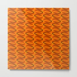 Zigzags and arrows of bronze rhombuses and black strict triangles. Metal Print