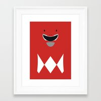 power ranger Framed Art Prints featuring Power Rangers - Red Ranger Minimalist by TracingHorses