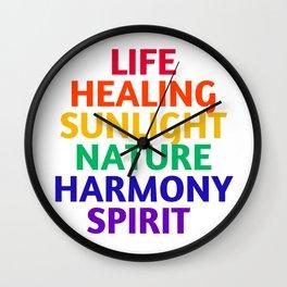 LIFE HEALING SUNLIGHT NATURE HARMONY SPIRIT - RAINBOW Wall Clock