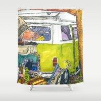 vw bus Shower Curtains featuring VW Bus Campsite by Barb Laskey Studio