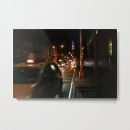 A Street Full of Taxis Metal Print