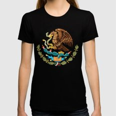Close up of the Seal from the National flag of Mexico on Adobe red background X-LARGE Black Womens Fitted Tee