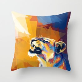 In the Sunlight - Lion portrait, animal digital art Throw Pillow