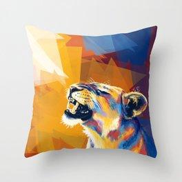 In the Sunlight - Lion portrait, animal digital art Throw Pillow