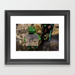 Froggy Reads the Wall Street Journal Framed Art Print