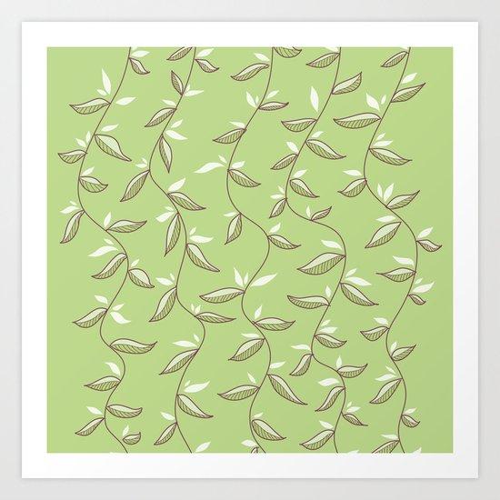 Gentle Green Leaves And Lianas Pattern Art Print