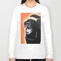 labrador Long Sleeve T-shirts featuring Labrador Happy 2 by Jennifer Warmuth Art And Design