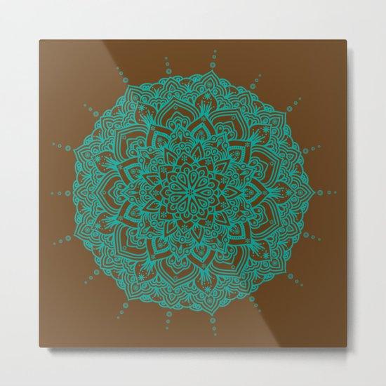 Blue Green Mandala With Droplets On Brown Metal Print