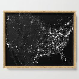 The Lights of the USA (Black and White) Serving Tray