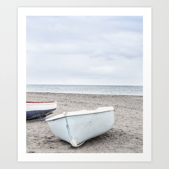 Lonely boats at the beach Art Print