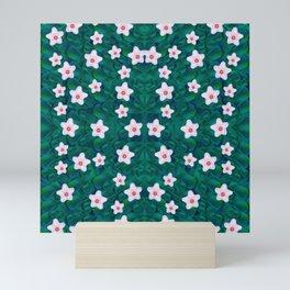 porcelain flowers  on leaves Mini Art Print
