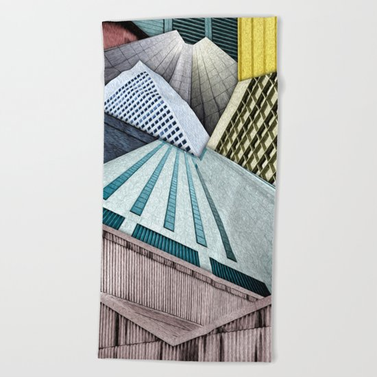Angles of City Structures Beach Towel