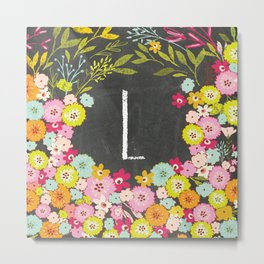 L botanical monogram. Letter initial with colorful flowers on a chalkboard background Metal Print