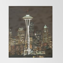 Seattle Space Needle at Night - City Lights Throw Blanket