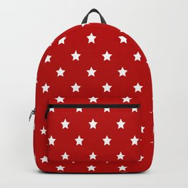 Red Background With White Stars Pattern Backpack