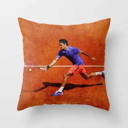 Roger Federer Tennis Chip Return Throw Pillow