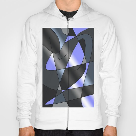 ABSTRACT CURVES #2 (Greys & Light Blue) Hoody