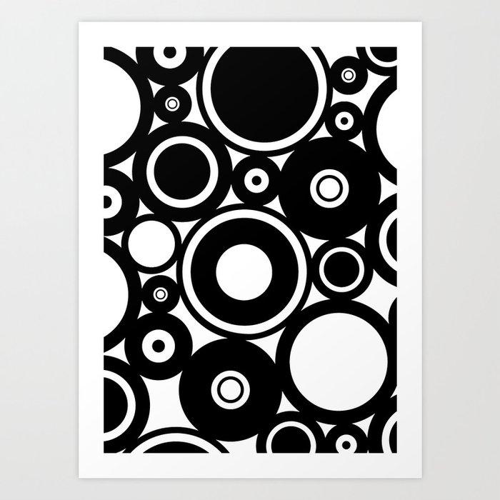 Retro black white circles pop art art print