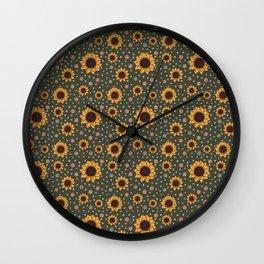 Green Sunflower Pattern Wall Clock