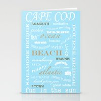 cape cod Stationery Cards featuring Cape Cod Typography Print by ELIZABETH THOMAS Photography of Cape Cod