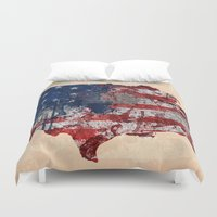 america Duvet Covers featuring america map  by mark ashkenazi