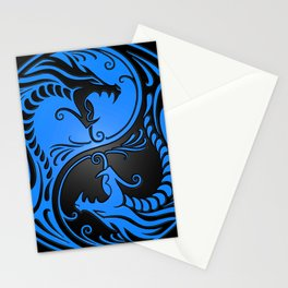 Blue and Black Yin Yang Dragons Stationery Cards