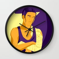 workout Wall Clocks featuring The Workout Soldier by curiositykilled