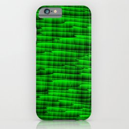 Square cross green lines on a dark tree. iPhone Case