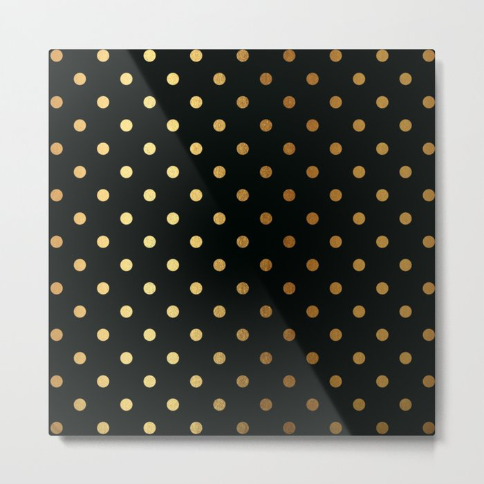Gold polka dots on black pattern Metal Print