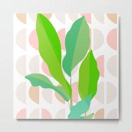 Sunny Banana leaves on Mid Century Modern pattern Metal Print