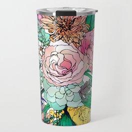 Stylish Colorful Watercolor Floral Pattern Travel Mug