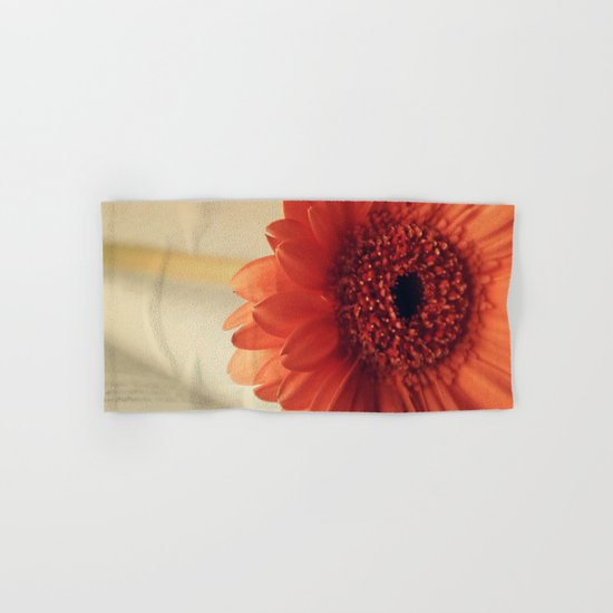 Golden Sunlight Orange Gerbera Hand & Bath Towel