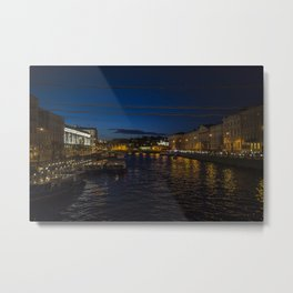 St. Petersburg Russia Nevsky prospect Canal Berth night time Cities Building Pier Night Marinas Houses Metal Print