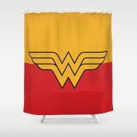 dc comics Shower Curtains featuring Wonder Logo Woman Minimalist Art Print DC Comics by The Retro Inc