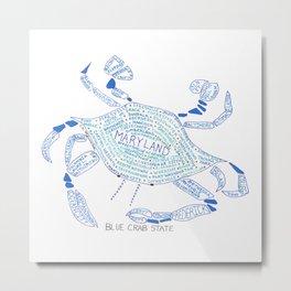 Blue Crab Maryland Art State Symbols cities Metal Print