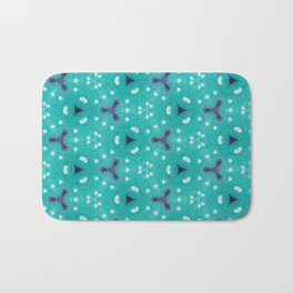 Aqua Purple and White Textured Bubble Abstract Design Bath Mat