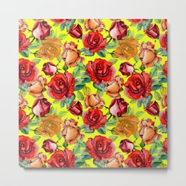 Botanical red orange yellow hand painted roses pattern Metal Print