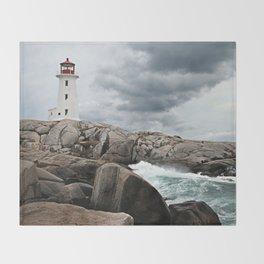 Peggy's Cove Light House -- Nova Scotia Throw Blanket