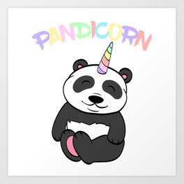 Illustration Of A Cute Pandicorn Shirt For Animal Lovers T-shirt Design Black And White Adorable Art Print
