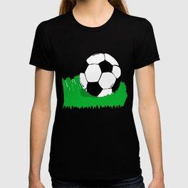Soccer Ball In Grass Printmaking Art T-shirt