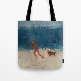 jogger by the sea Tote Bag